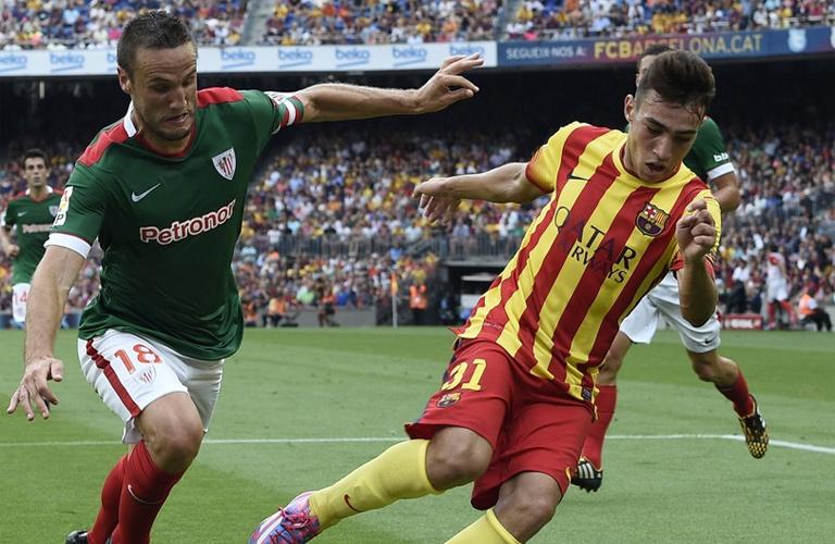 منير الحدادي لاعب برشلونة في مباراة بلباو