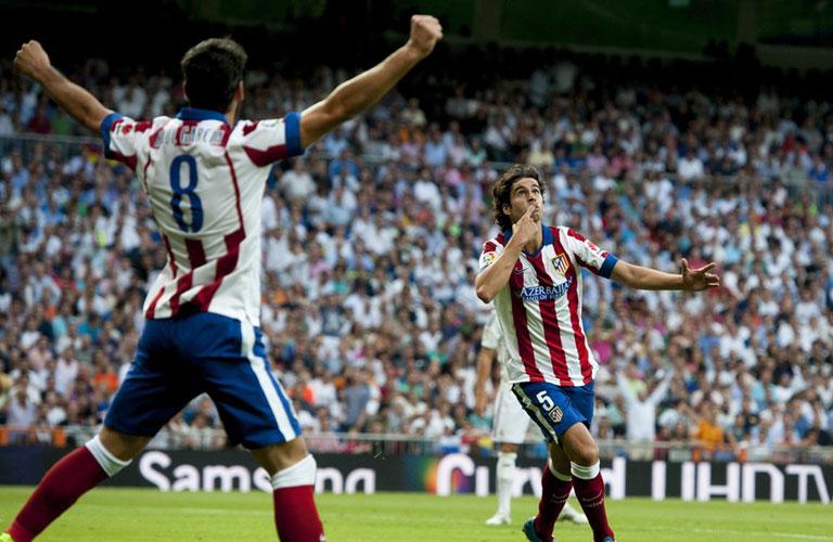 فرحة تياجو بهدفه فى اتلتيكو مدريد