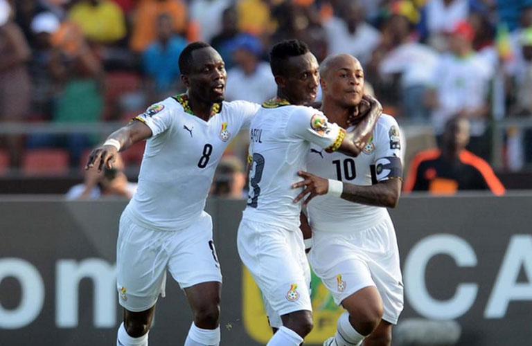 فرحة لاعبى غانا بهدفهم الوحيد فى المباراة