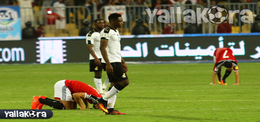 احتفال لاعبي منتخب مصر بعد الفوز على غانا