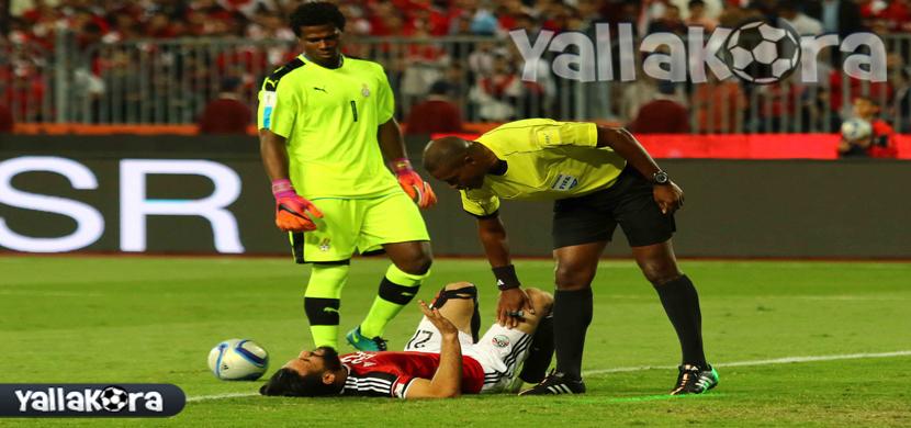 اصابة باسم مرسي فى المباراة