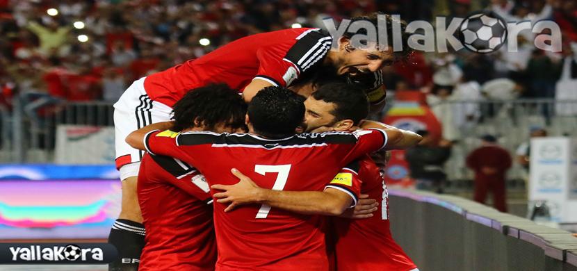 احتفال لاعبى مصر فى المباراة