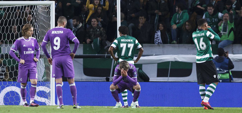 لقطة من مباراة سبورتينج لشبونة وريال مدريد