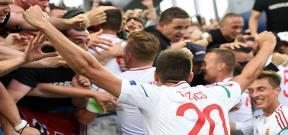 احتفال جماهير المجر مع اللاعبين