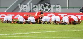 إحتفال لاعبي مصر بعد هدف صلاح فى غانا