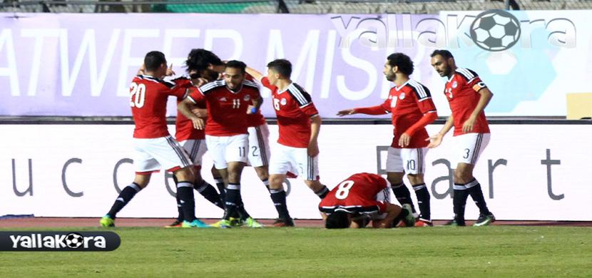 احتفال لاعبي منتخب مصر