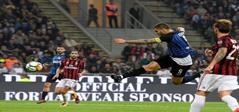 لحظة تسجيل ايكاردي هدفه الثاني في مرمى ميلان
