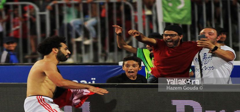 احتفال صلاح بعد فوز مصر على الكونغو