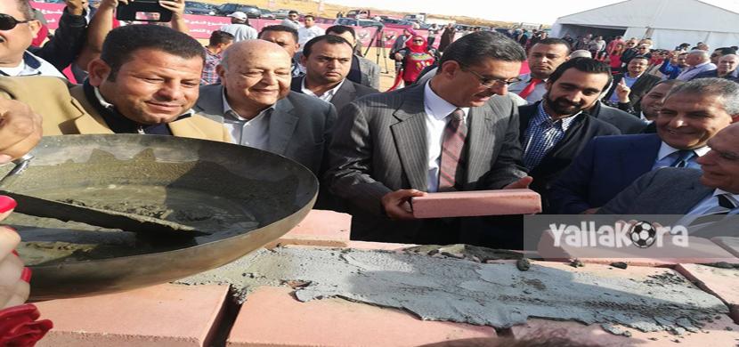 محمود طاهر ومجلس الادارة اثناء وضع حجر الاساس
