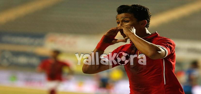 احتفال عمرو جمال فى المباراة