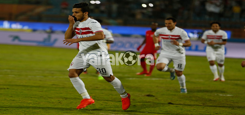 احتفال مصطفى فتحى بعد تسجيله هدف