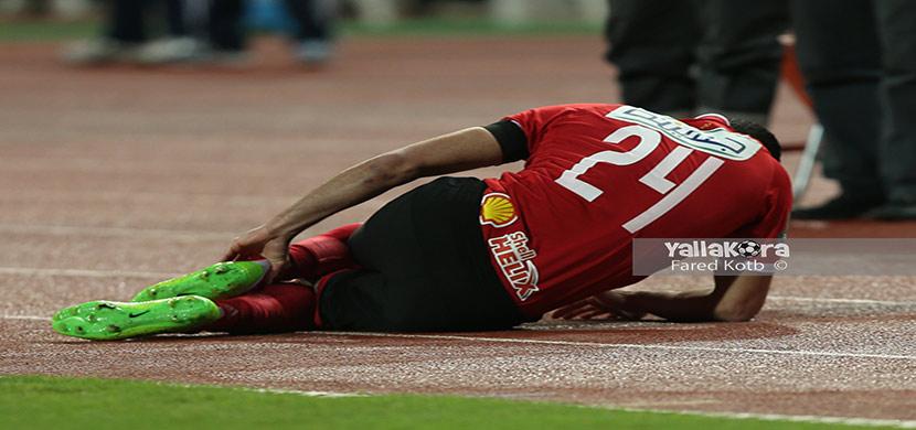 سقوط احمد فتحى فى المباراة