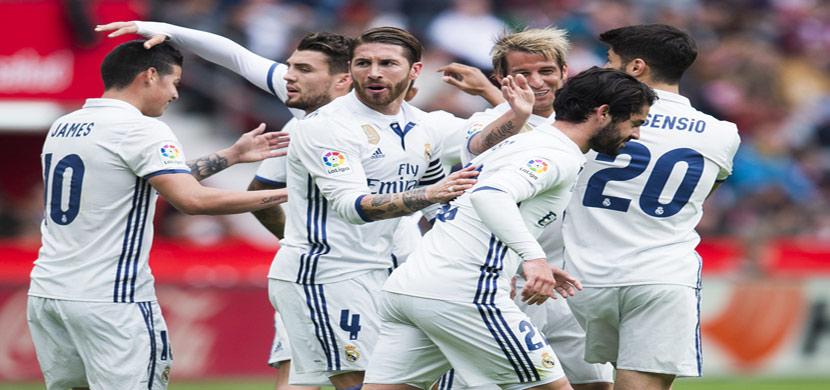 فرحة لاعبي ريال مدريد في مباراة خيخون