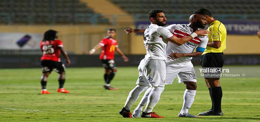 فرحة باسم مرسي وشيكابالا في مباراة طلائع الجيش