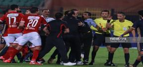 مباراة الأهلي والإنتاج وطرد البدري وعاشور