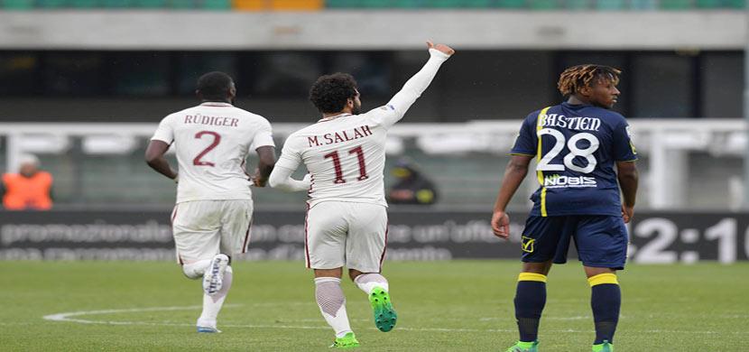 محمد صلاح فى مباراة كييفو فيرونا وروما