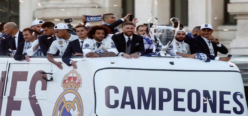 إحتفالات لاعبي الريال بالعاصمة مدريد