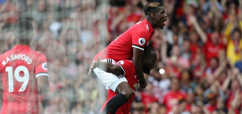 فرحة بوجبا ولوكاكو في المباراة
