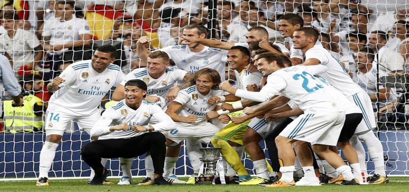 فرحة لاعبي ريال مدريد بالفوز بالسوبر الاسباني