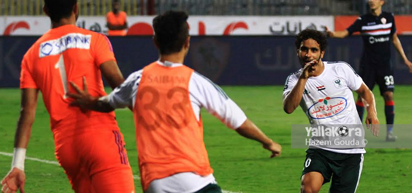 فرحة لاعبي المصري بالتأهل لنهائي الكاس
