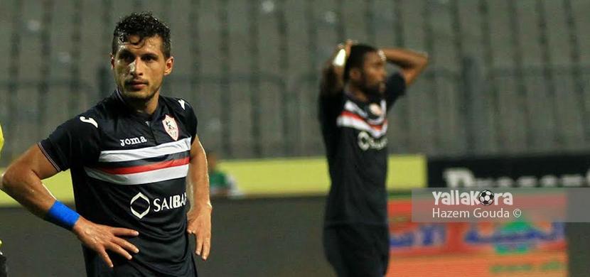 حسرة لاعبي الزمالك بعد الخسارة امام المصري