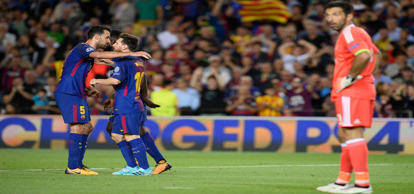 بوفون واحتفال لاعبي برشلونة