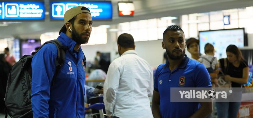 شريف إكرامي وحسام عاشور في مطار تونس
