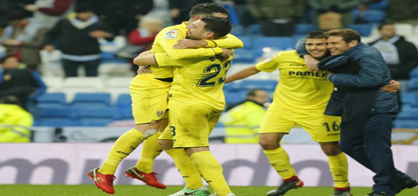 فرحة لاعبي فياريال بعد الفوز على ريال مدريد