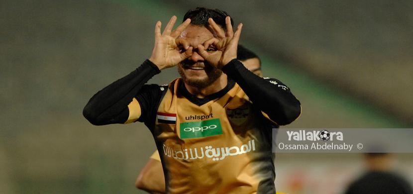 احتفال خالد قمر فى المباراة