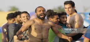 احتفال لاعبي نجوم المستقبل بعد الصعود للدوري