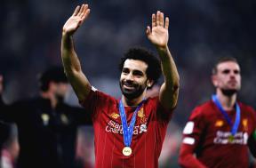 احتفال محمد صلاح بعد التتويج بكأس العالم للأندية