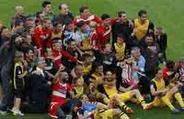 فرحة اتلتيكو مدريد بالفوز بالدوري الأسباني