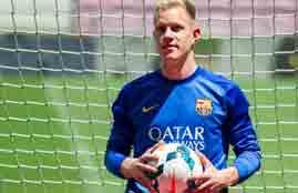 الظهور الأول لحارس برشلونة الجديد تيرشتيجن