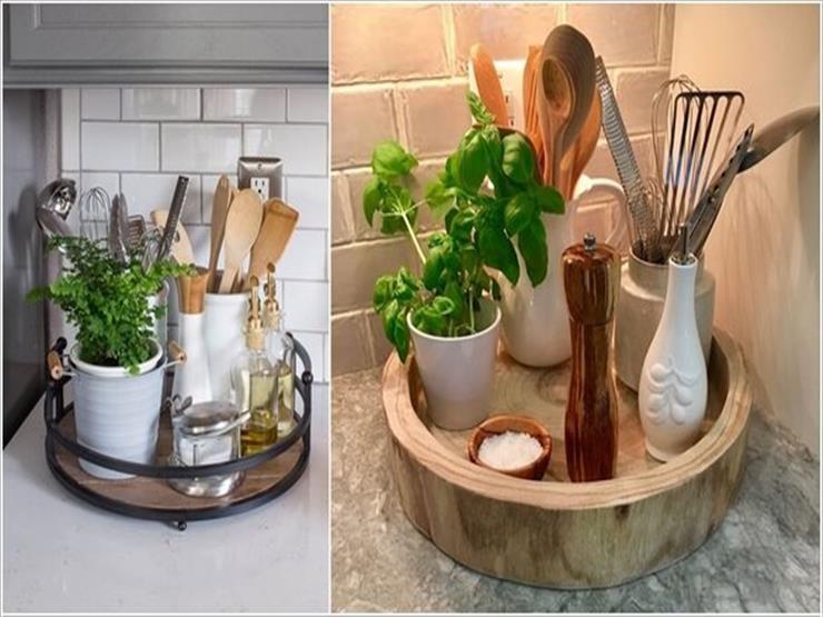 1- تخصيص صينية من الخشب أو المعدن لوضع أدوات الطعام التي يتم استخدامها بشكل متكرر.
