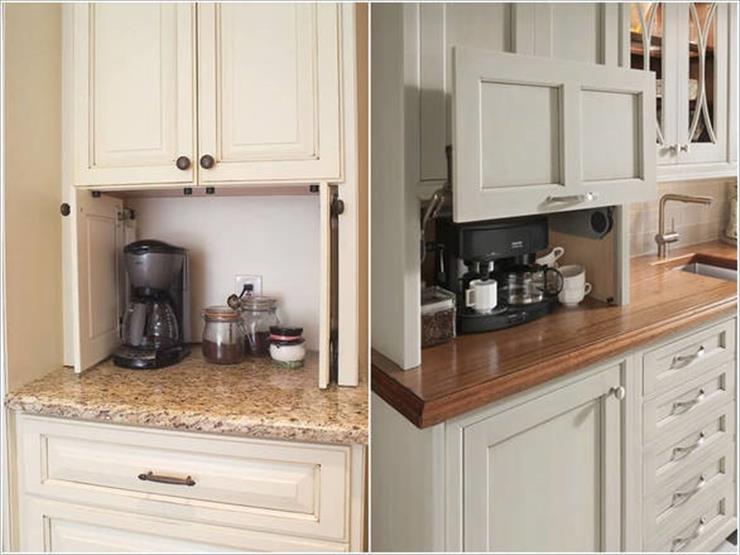 2- استخدام المساحة الميتة أسفل خزائن المطبخ وتحويلها إلى وحدة لتخزين أدوات وأجهزة المطبخ.