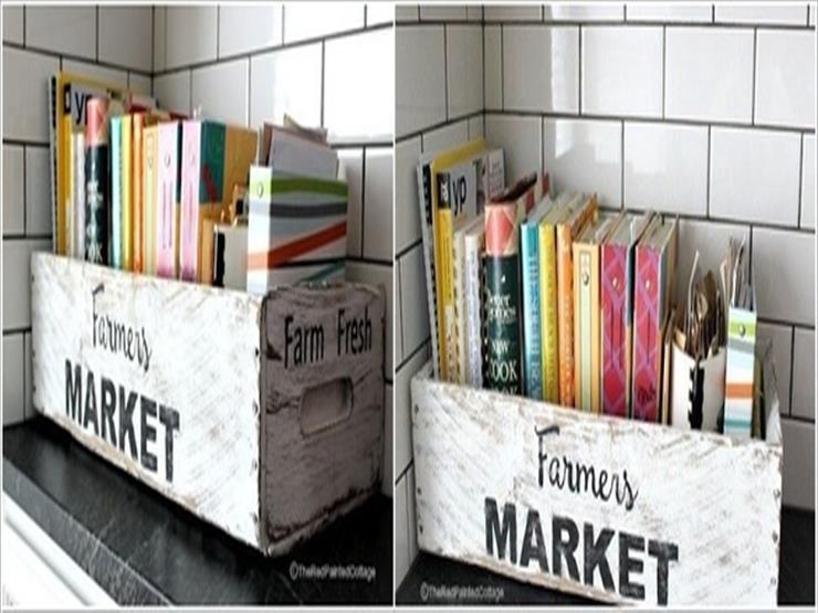 7- صندوق قديم لحفظ كتب الطهي إذا كانت ربة المنزل تستعين بها في المطبخ.