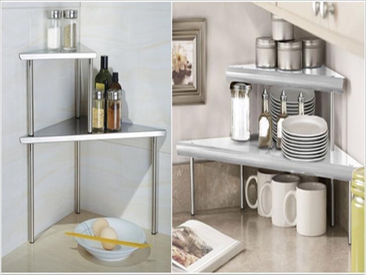 8- الاستفادة من الزاويا عبر تركيب رفوف مثلثة الشكل تستوعب الأطباق والأدوات.