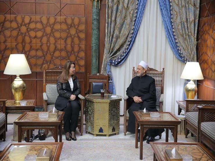 شيخ الأزهر يتلقي وزيرة التضامن غادة والي (2)