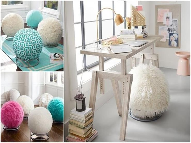 6- تصاميم مميزة لمجموعة من الكراسي الغريبة على شكل كرات من الصوف.