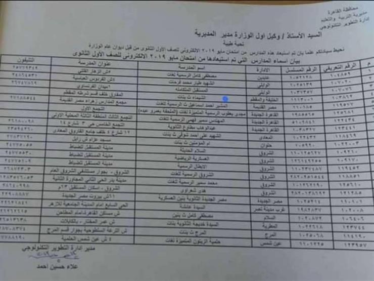 تعليم القاهرة تحدد المدارس التي تجرى بها امتحانات أولى ثانوي ورقيًا