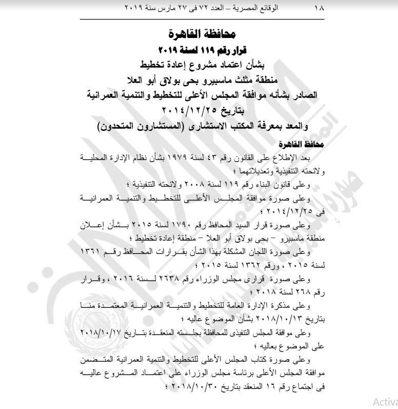 محافظ القاهرة يعتمد مشروع إعادة تخطيط مثلث ماسبيرو