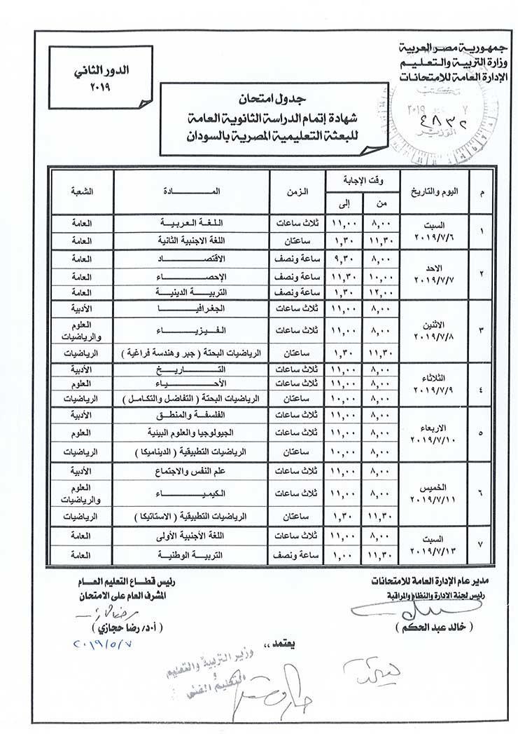 وزير التعليم يعتمد جدول امتحانات الدور الثاني للثانوية العامة بالسودان
