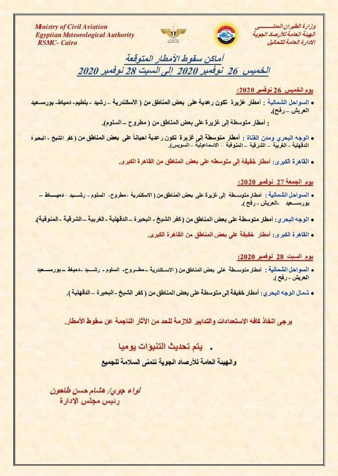 غزيرة ورعدية وتشمل القاهرة.. الأرصاد تعلن أماكن سقوط الأمطار