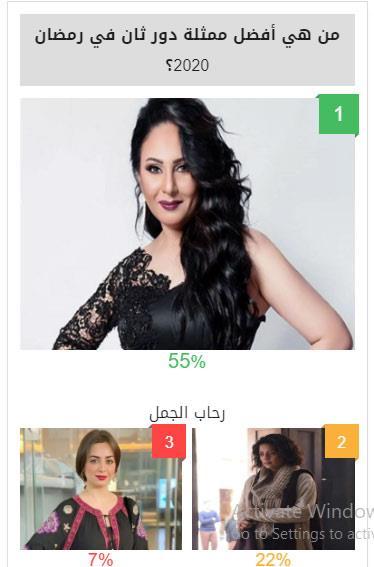 التصويت مستمر.. رحاب الجمل أفضل ممثلة دور ثان في استفتاء مصراوي