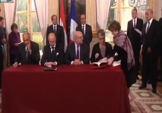 الرئيس السيسى ورئيس فرنسا يشهدان التوقيع على عدد من الاتفاقات بين دولتى مصر وفرنسا