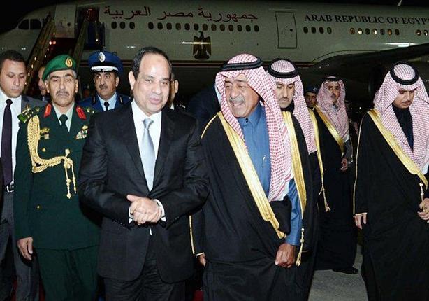 لحظة وصول الرئيس السيسى للسعودية للعزاء فى الملك عبدالله