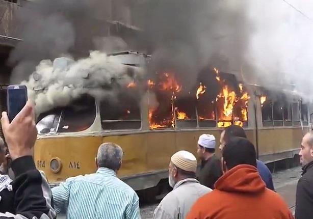 مجهولون يحرقون ترام بمحطة النزهة بالاسكندرية