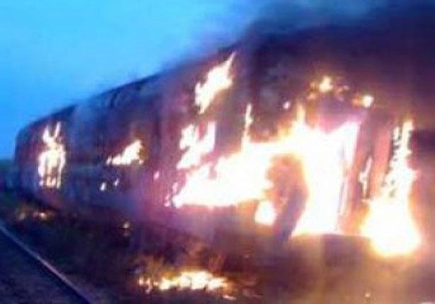 حريق هائل في أحد القطارات بالمنوفية