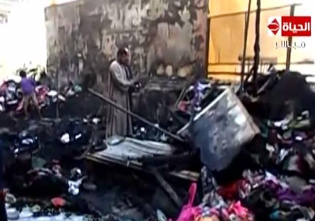 """الحماية المدنية تسيطر على حريق دمر 20 محلا"""" تجاريا"""" في مدينة كوم أمبو بأسوان"""
