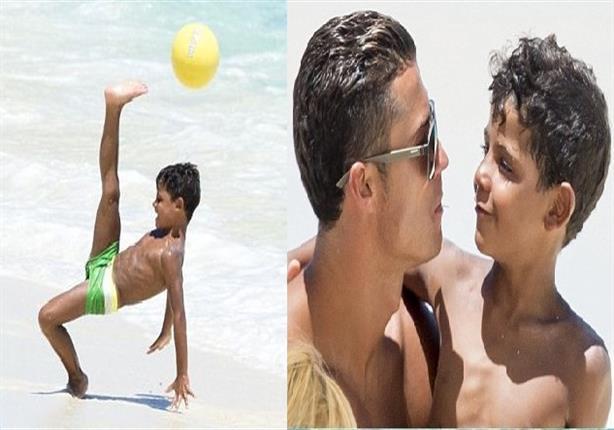 صور- ابن رونالدو يستعرض مهاراته الكروية على خطى والده